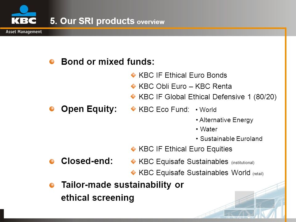 5. Our SRI products overview