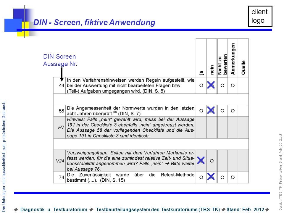 DIN - Screen, fiktive Anwendung