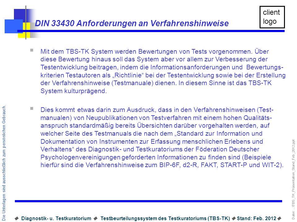 DIN 33430 Anforderungen an Verfahrenshinweise