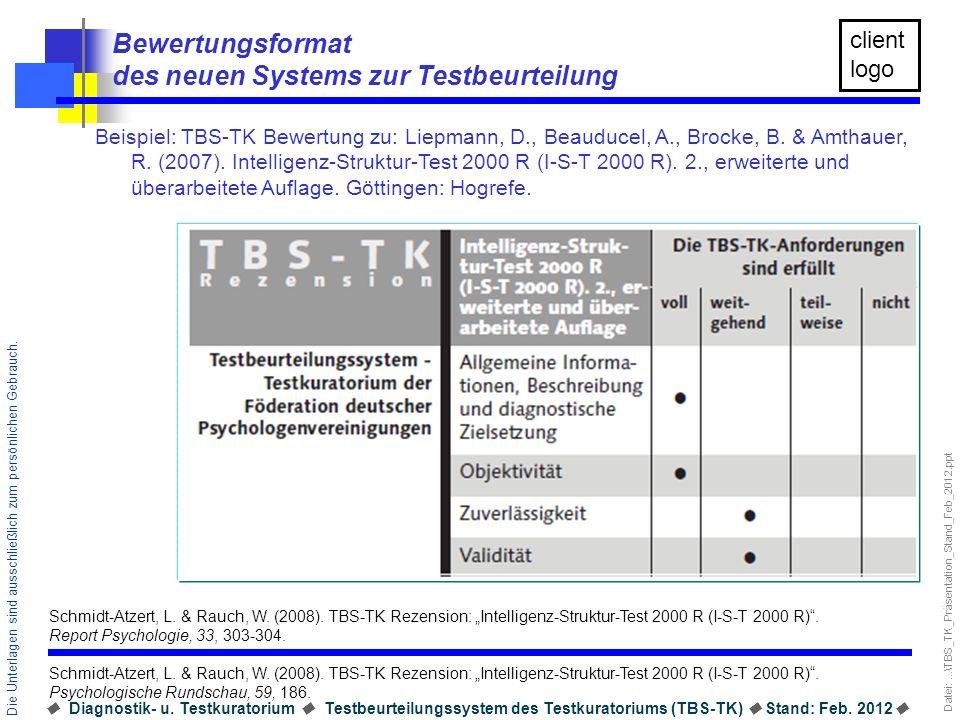 Bewertungsformat des neuen Systems zur Testbeurteilung