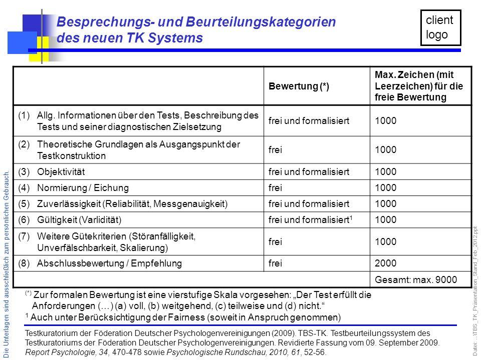 Besprechungs- und Beurteilungskategorien des neuen TK Systems