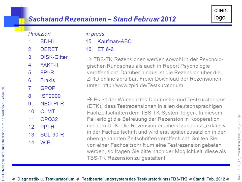 Sachstand Rezensionen – Stand Februar 2012