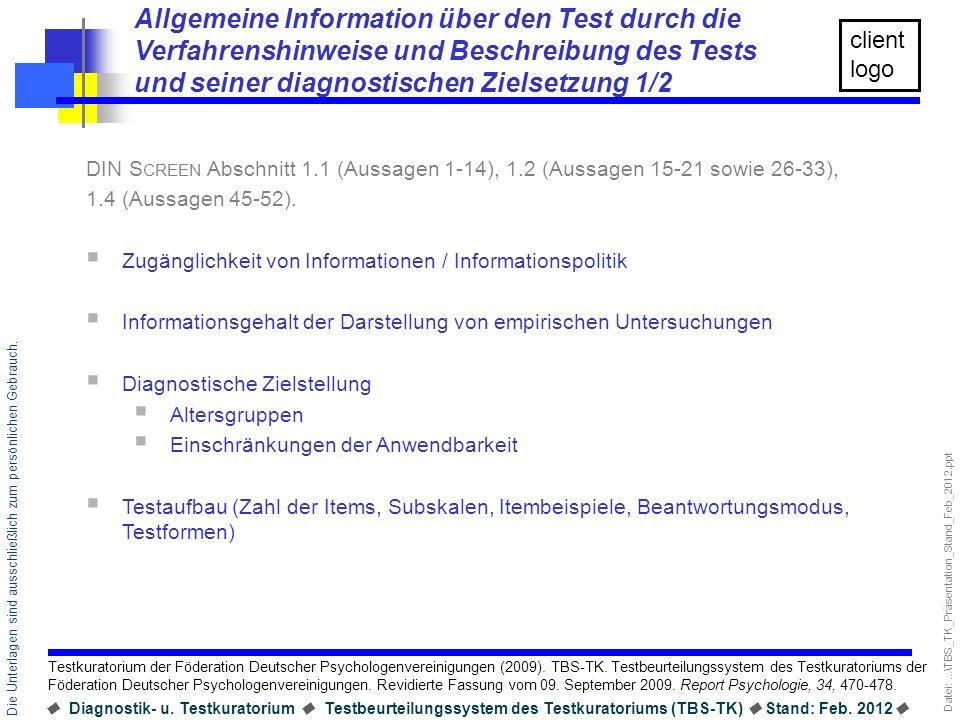 Allgemeine Information über den Test durch die Verfahrenshinweise und Beschreibung des Tests und seiner diagnostischen Zielsetzung 1/2