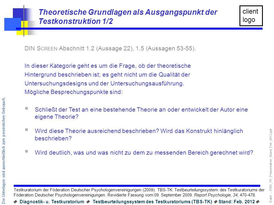 Theoretische Grundlagen als Ausgangspunkt der Testkonstruktion 1/2