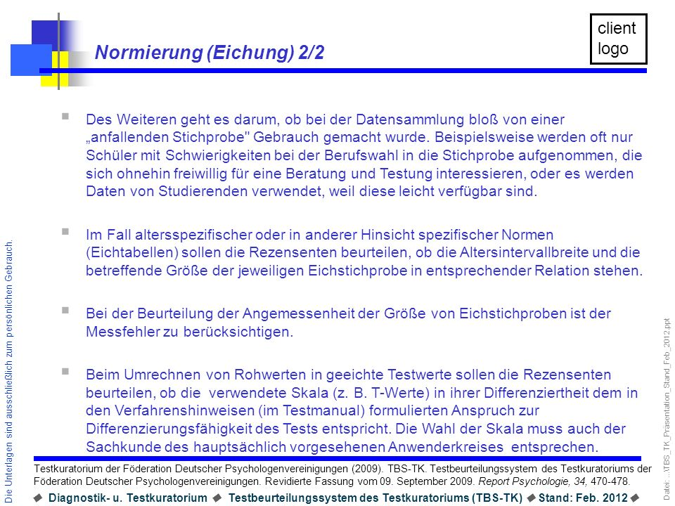 Normierung (Eichung) 2/2