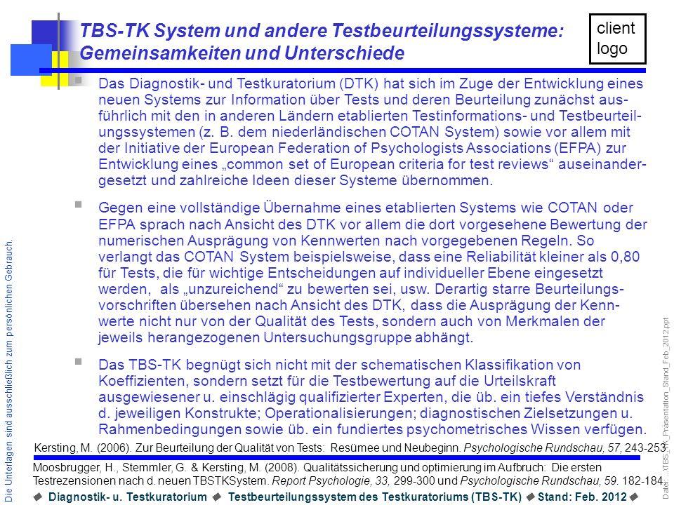 TBS-TK System und andere Testbeurteilungssysteme: Gemeinsamkeiten und Unterschiede