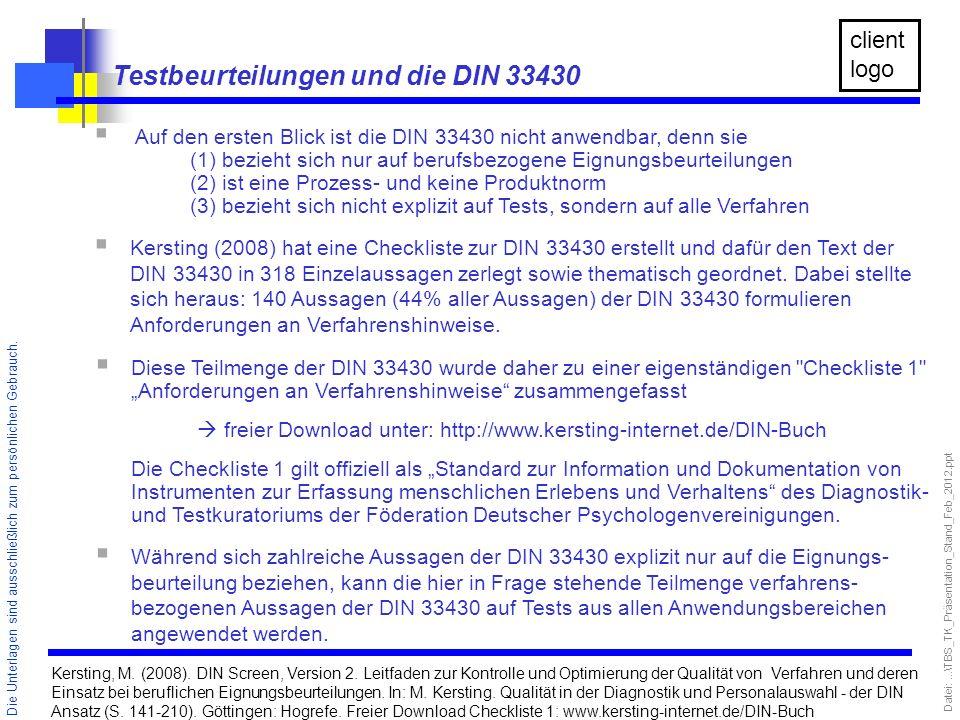Testbeurteilungen und die DIN 33430