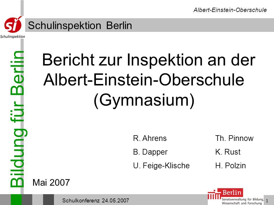 Bericht zur Inspektion an der Albert-Einstein-Oberschule (Gymnasium)