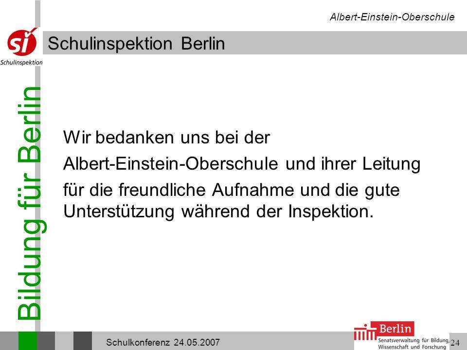 Wir bedanken uns bei der Albert-Einstein-Oberschule und ihrer Leitung