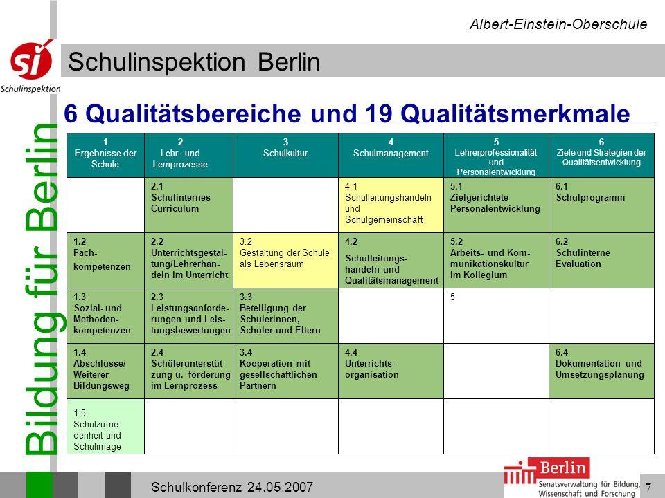 6 Qualitätsbereiche und 19 Qualitätsmerkmale