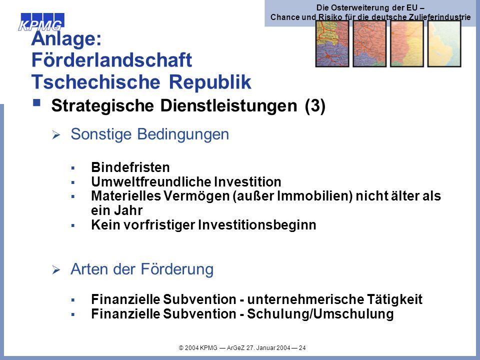 Anlage: Förderlandschaft Tschechische Republik
