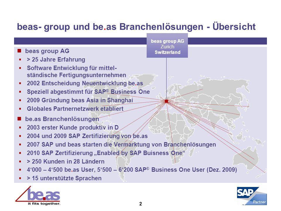 beas- group und be.as Branchenlösungen - Übersicht