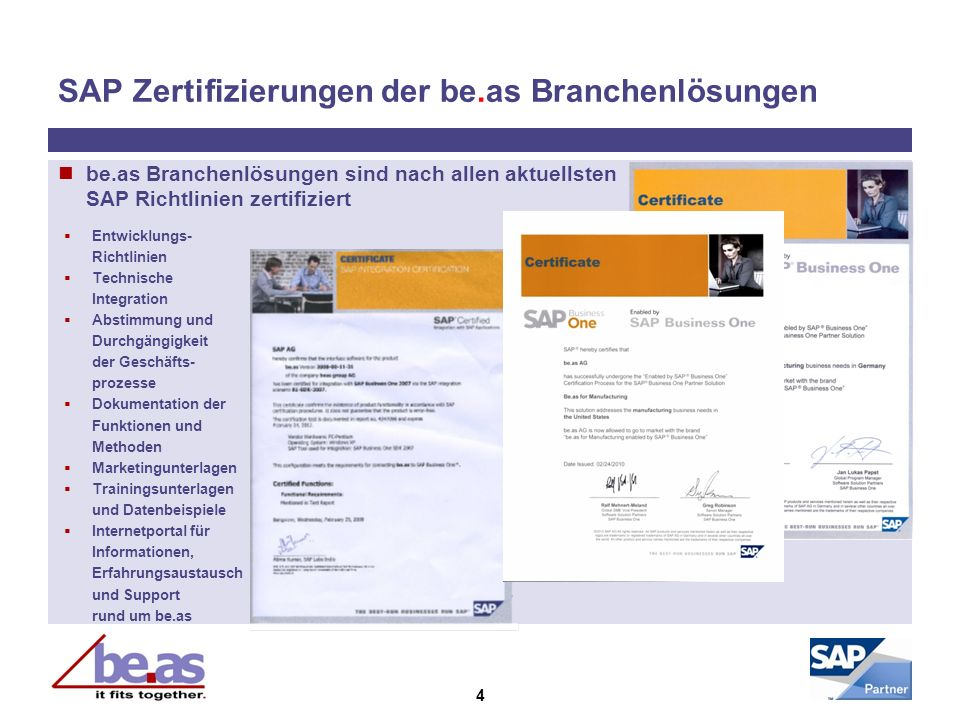 SAP Zertifizierungen der be.as Branchenlösungen