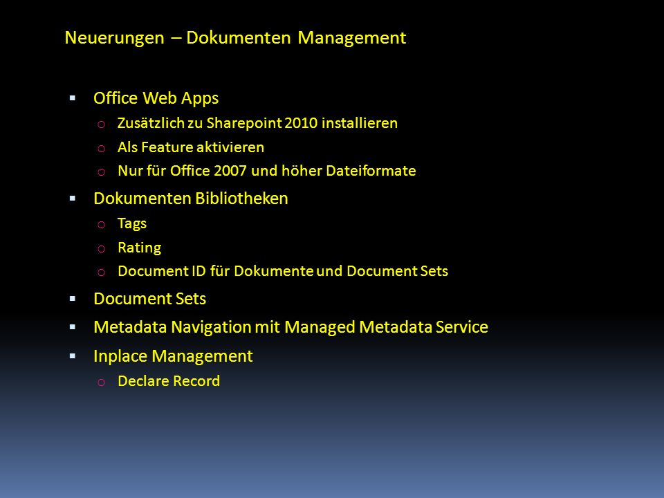Neuerungen – Dokumenten Management