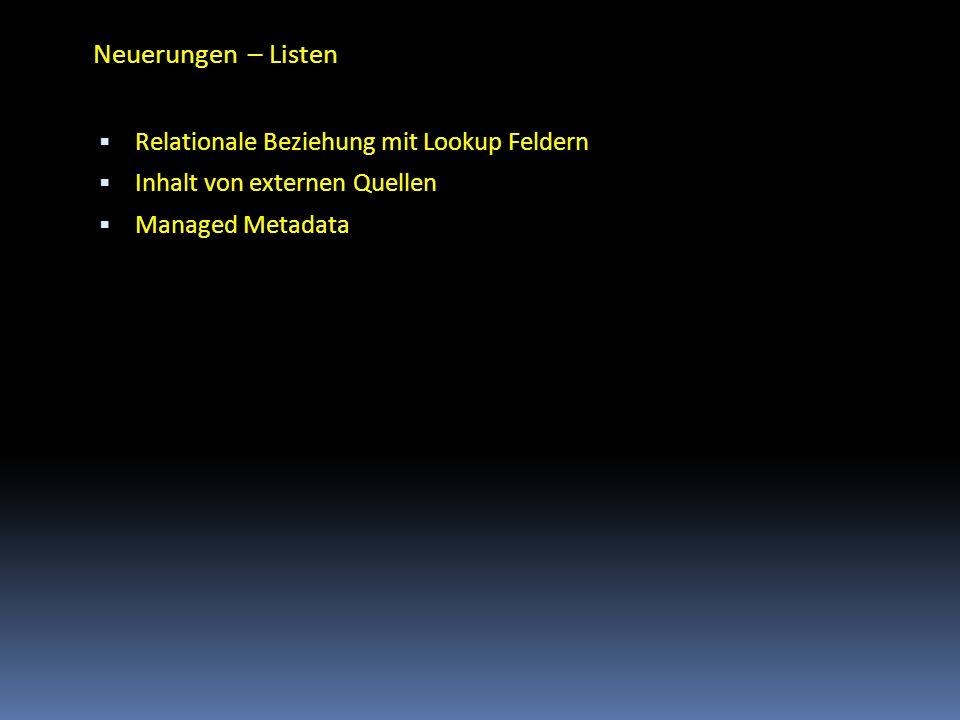 Neuerungen – Listen Relationale Beziehung mit Lookup Feldern
