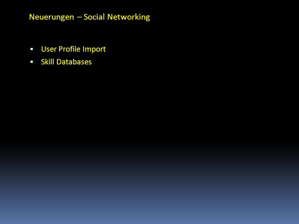 Neuerungen – Social Networking