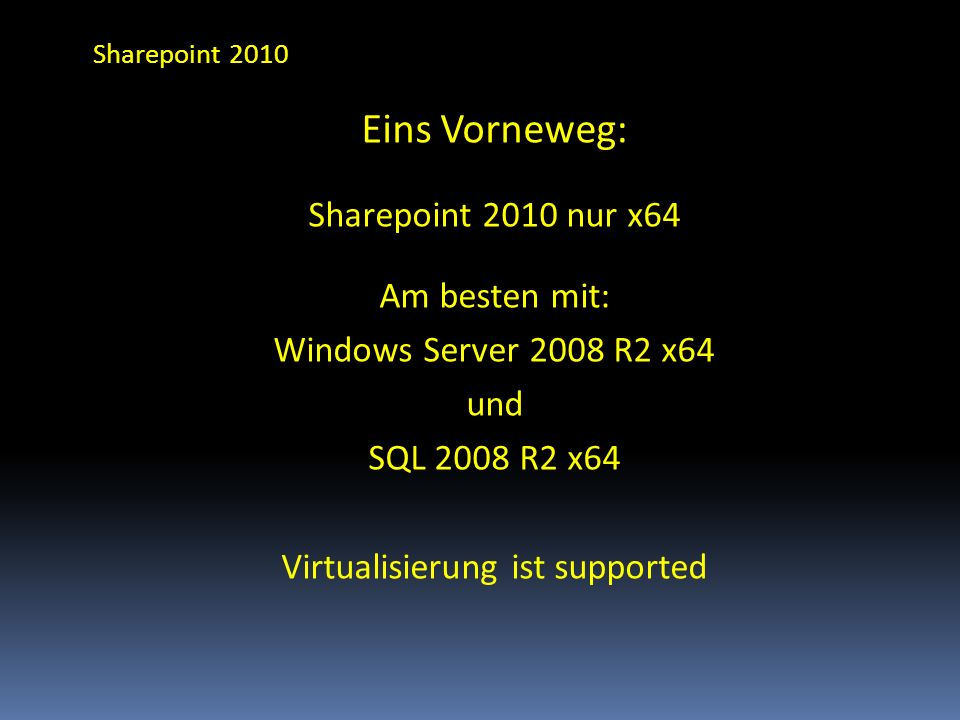 Virtualisierung ist supported