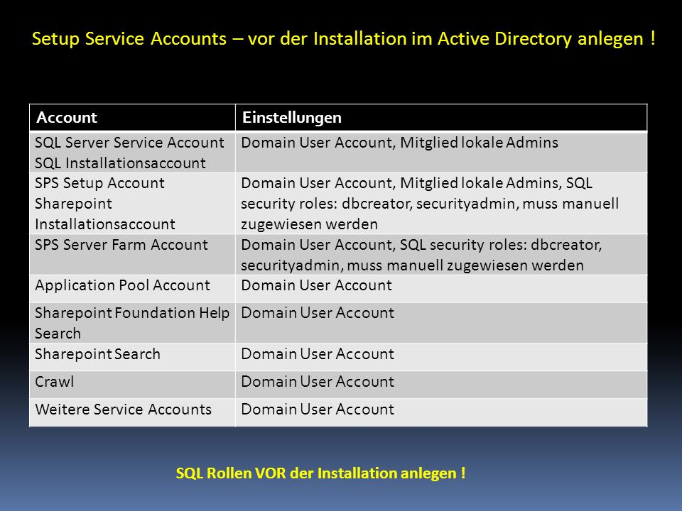 Setup Service Accounts – vor der Installation im Active Directory anlegen !