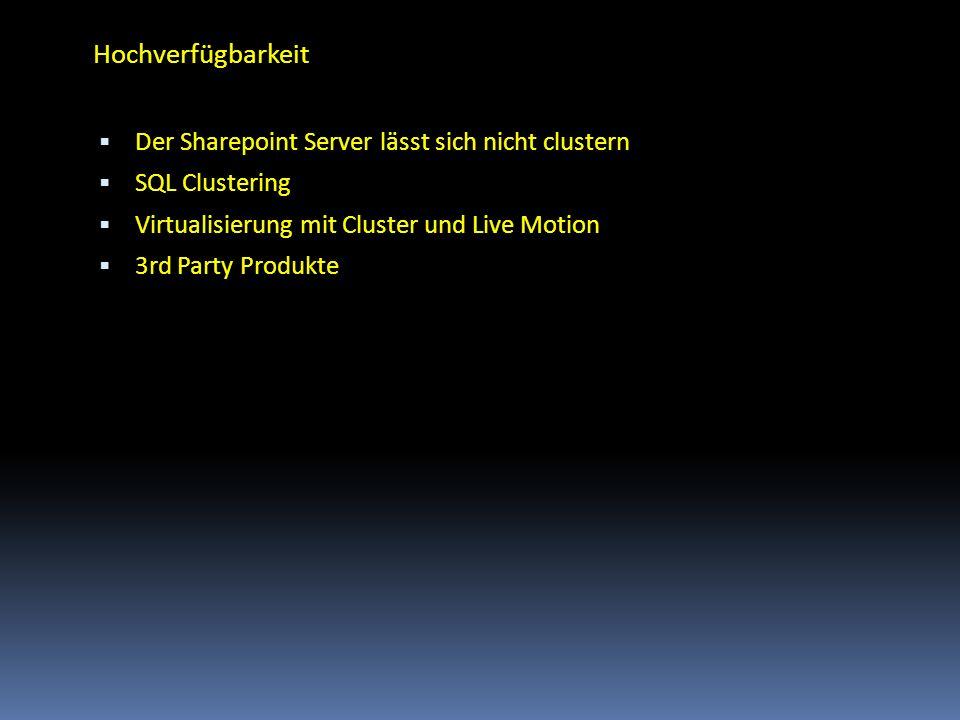 Hochverfügbarkeit Der Sharepoint Server lässt sich nicht clustern
