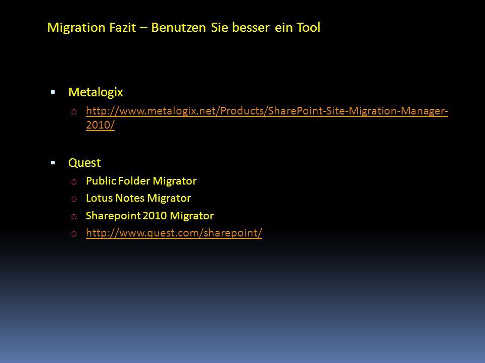 Migration Fazit – Benutzen Sie besser ein Tool