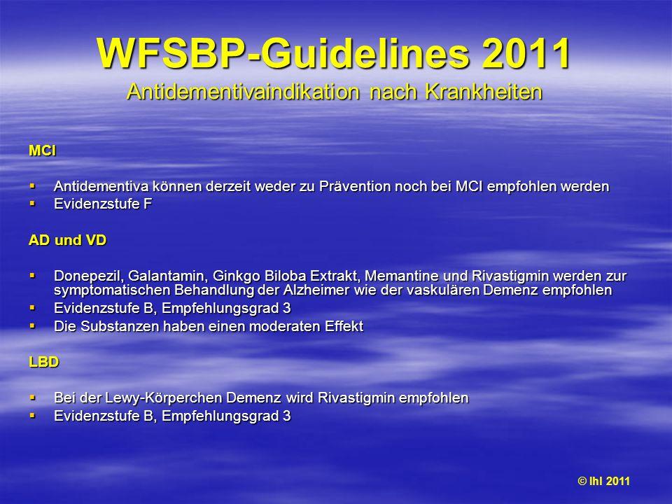 WFSBP-Guidelines 2011 Antidementivaindikation nach Krankheiten