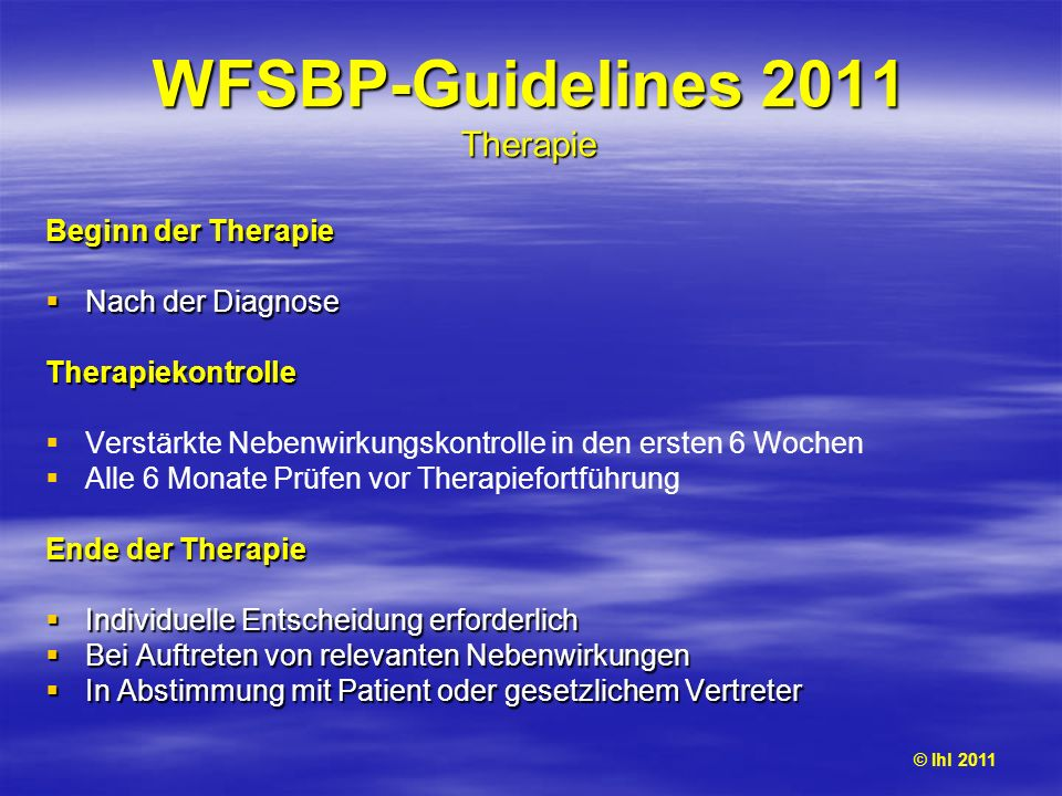 WFSBP-Guidelines 2011 Therapie