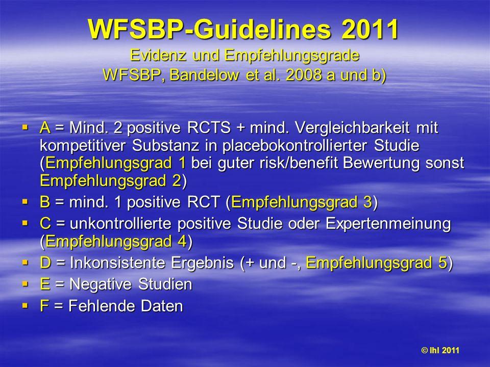 WFSBP-Guidelines 2011 Evidenz und Empfehlungsgrade WFSBP, Bandelow et al. 2008 a und b)