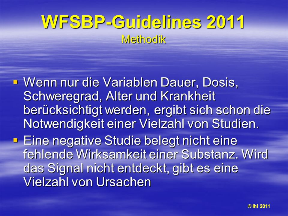 WFSBP-Guidelines 2011 Methodik