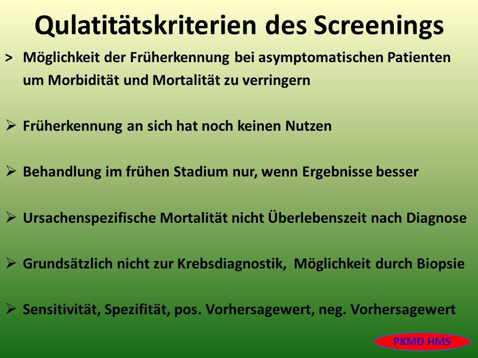 Qulatitätskriterien des Screenings