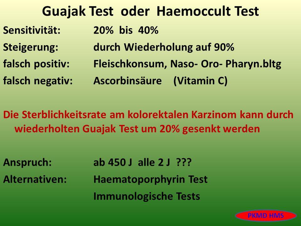 Guajak Test oder Haemoccult Test