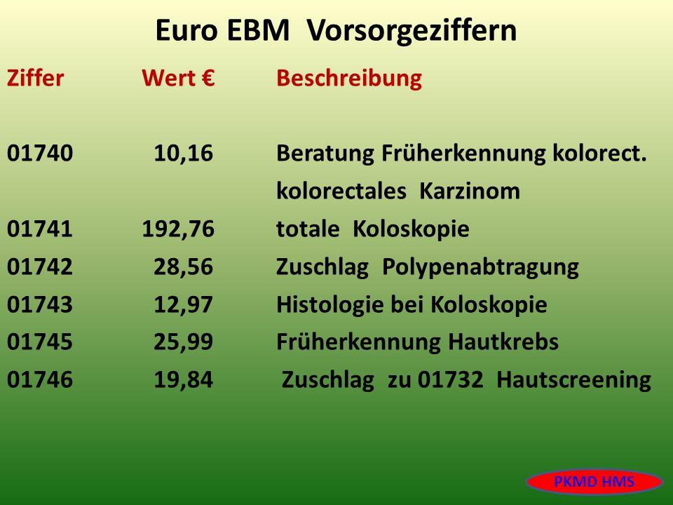 Euro EBM Vorsorgeziffern