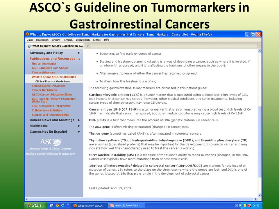 ASCO`s Guideline on Tumormarkers in Gastroinrestinal Cancers
