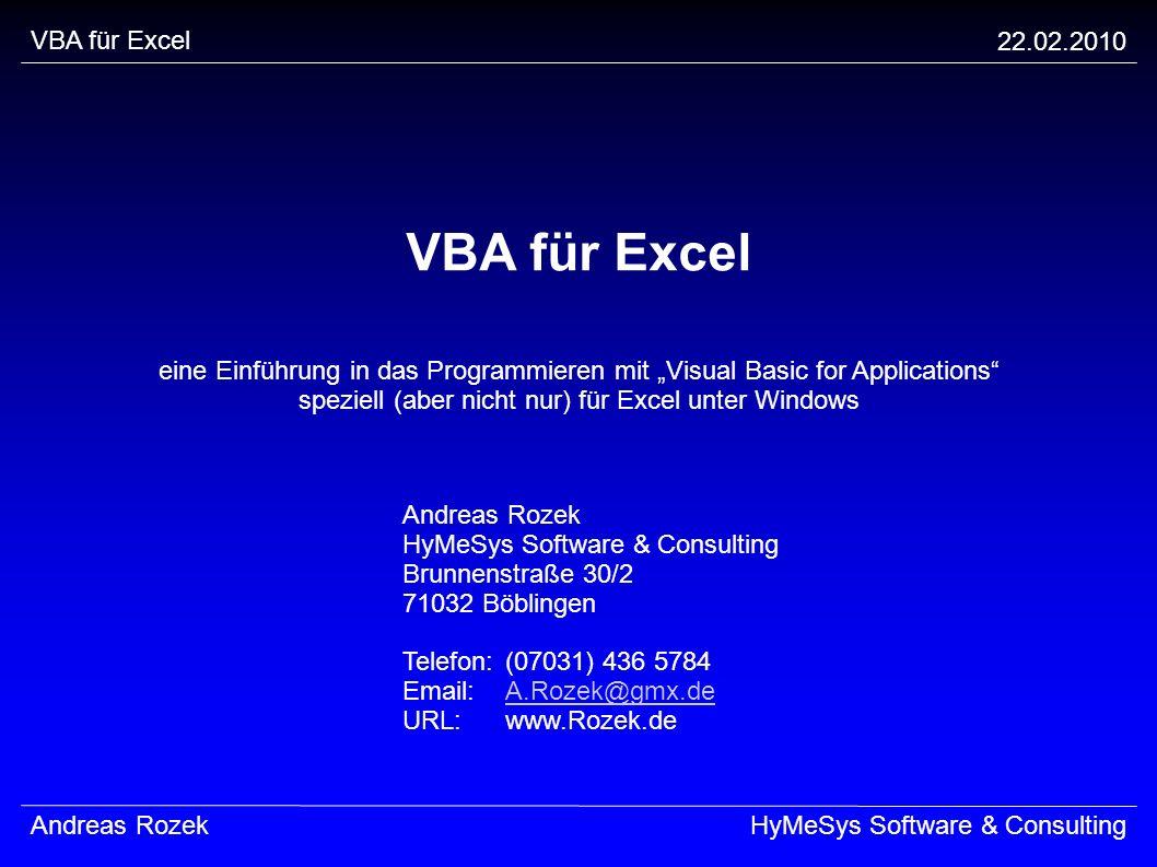 VBA für Excel VBA für Excel 22.02.2010