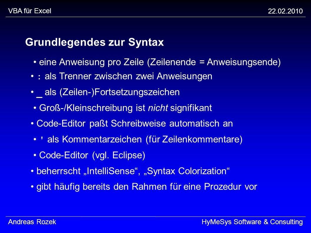 Grundlegendes zur Syntax