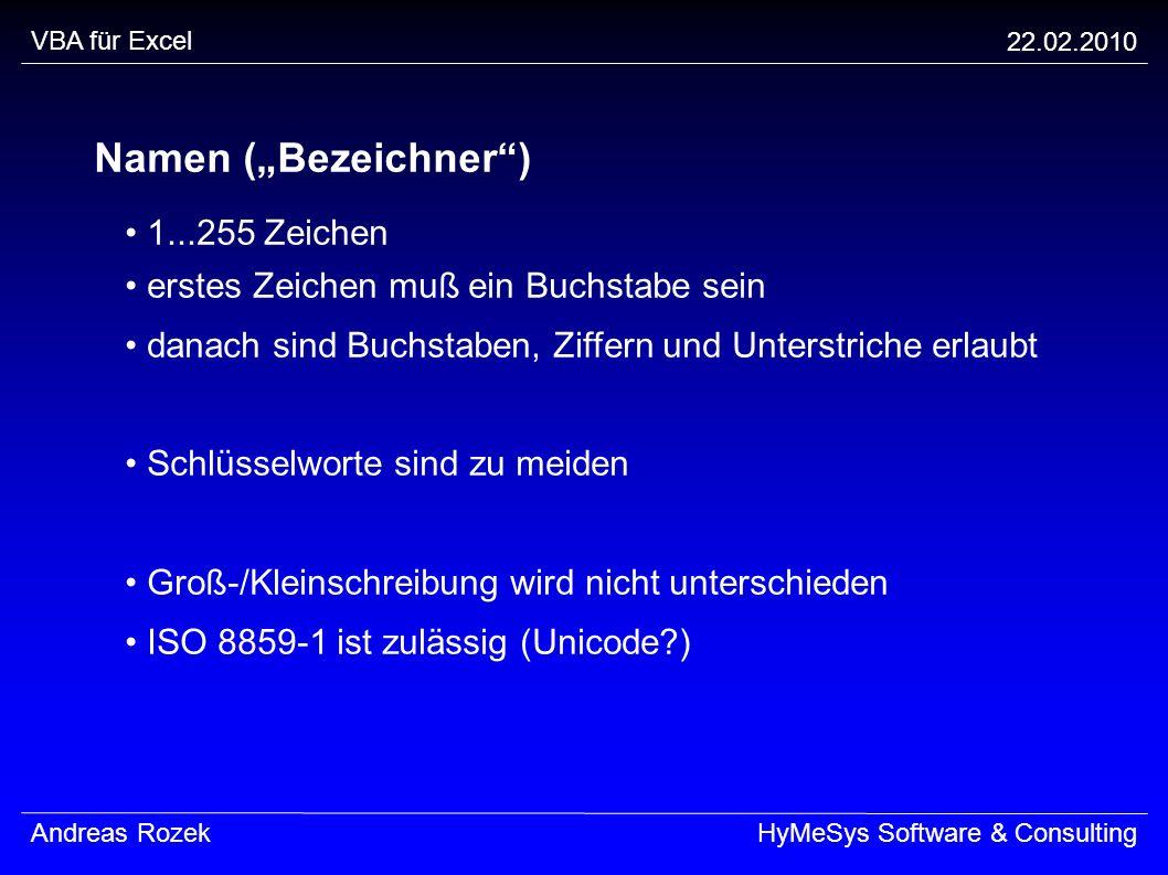 """Namen (""""Bezeichner ) • 1...255 Zeichen"""