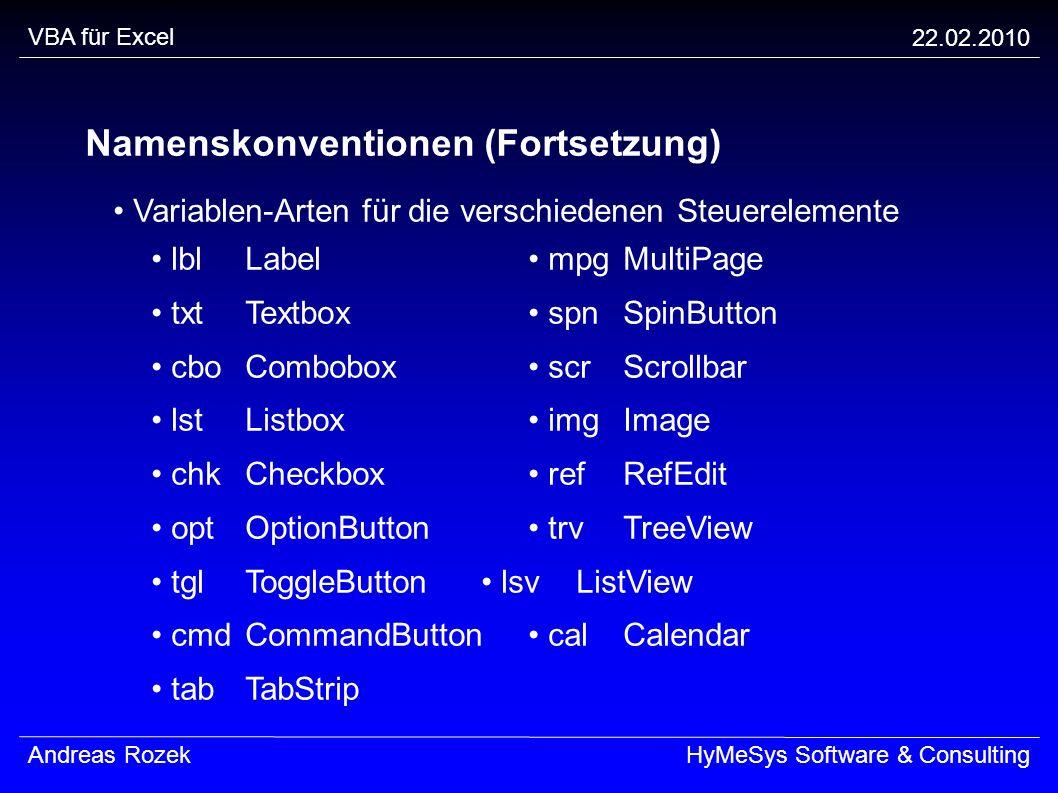 Namenskonventionen (Fortsetzung)