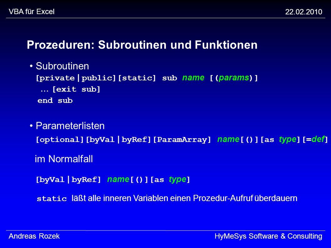 Prozeduren: Subroutinen und Funktionen