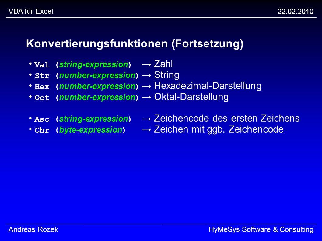 Konvertierungsfunktionen (Fortsetzung)