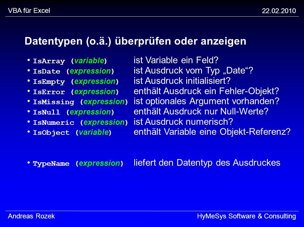 Datentypen (o.ä.) überprüfen oder anzeigen