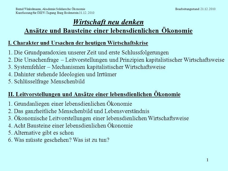 Bernd Winkelmann, Akademie Solidarsche Ökonomie. Bearbeitungsstand 21