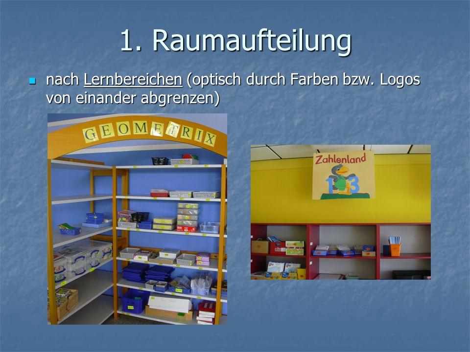 1. Raumaufteilung nach Lernbereichen (optisch durch Farben bzw. Logos von einander abgrenzen)