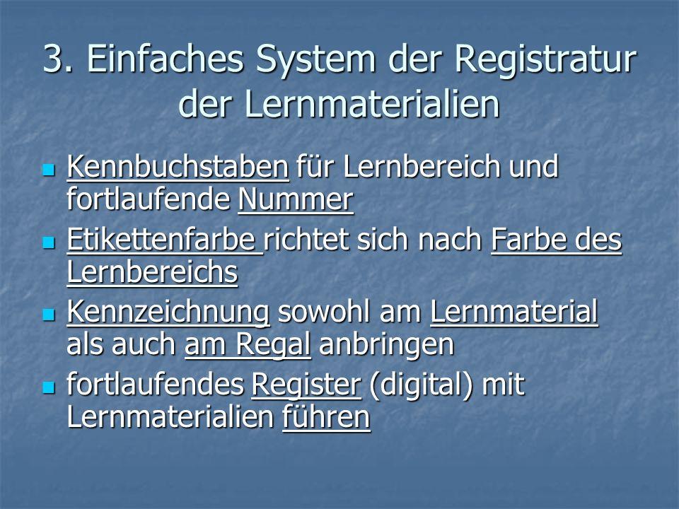 3. Einfaches System der Registratur der Lernmaterialien