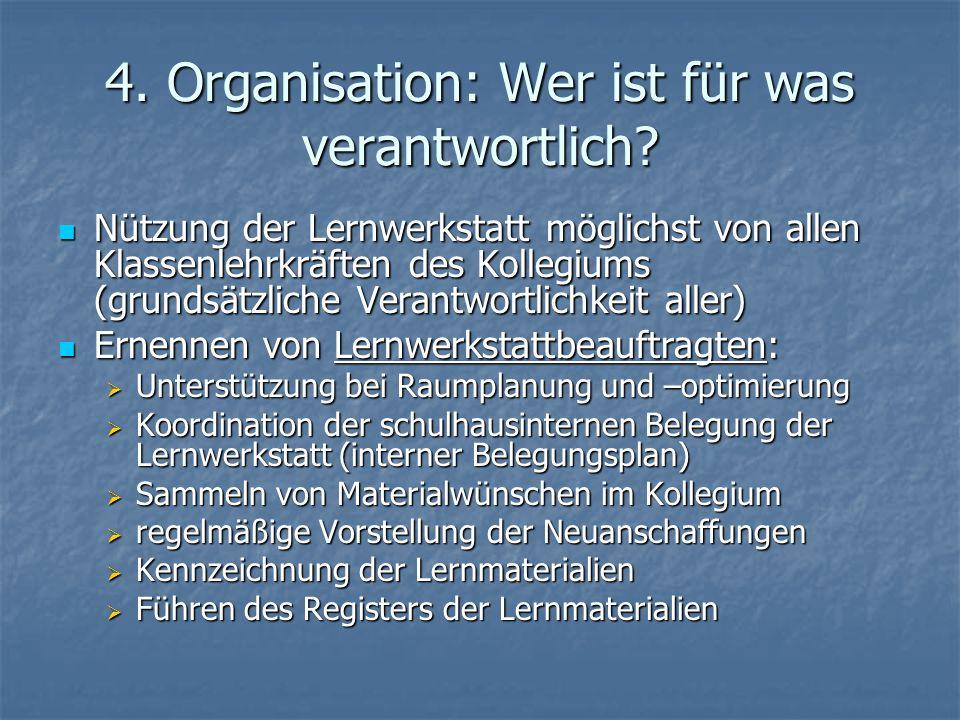 4. Organisation: Wer ist für was verantwortlich
