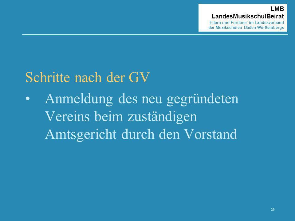 Schritte nach der GV Anmeldung des neu gegründeten Vereins beim zuständigen Amtsgericht durch den Vorstand.
