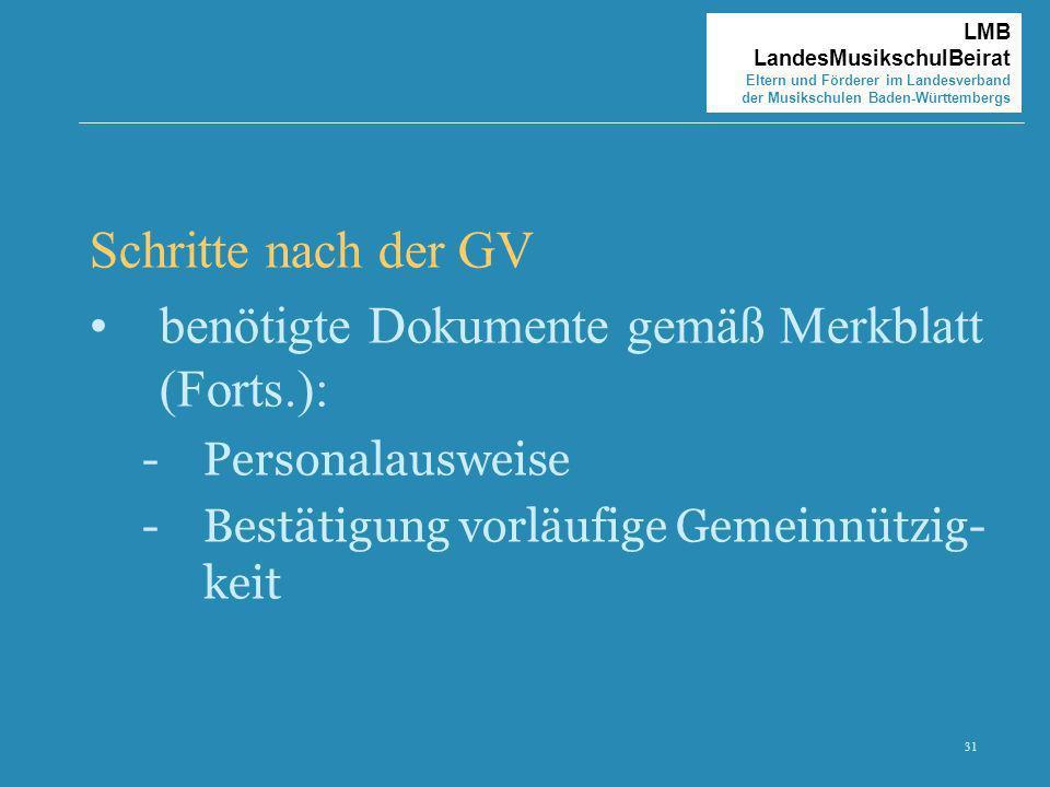 benötigte Dokumente gemäß Merkblatt (Forts.):