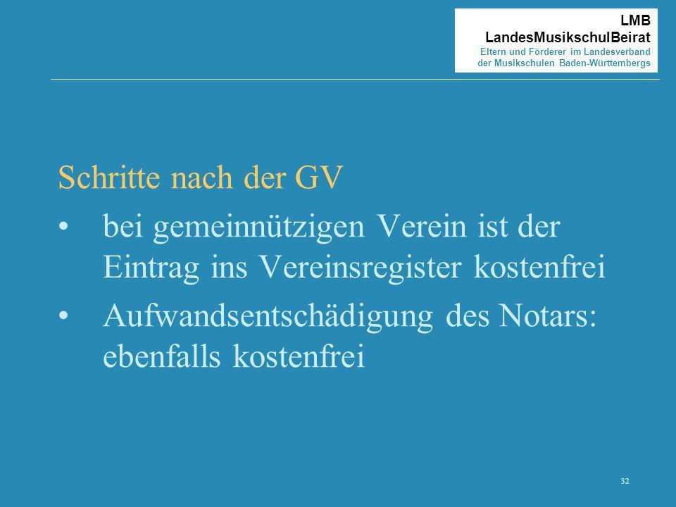Schritte nach der GVbei gemeinnützigen Verein ist der Eintrag ins Vereinsregister kostenfrei.