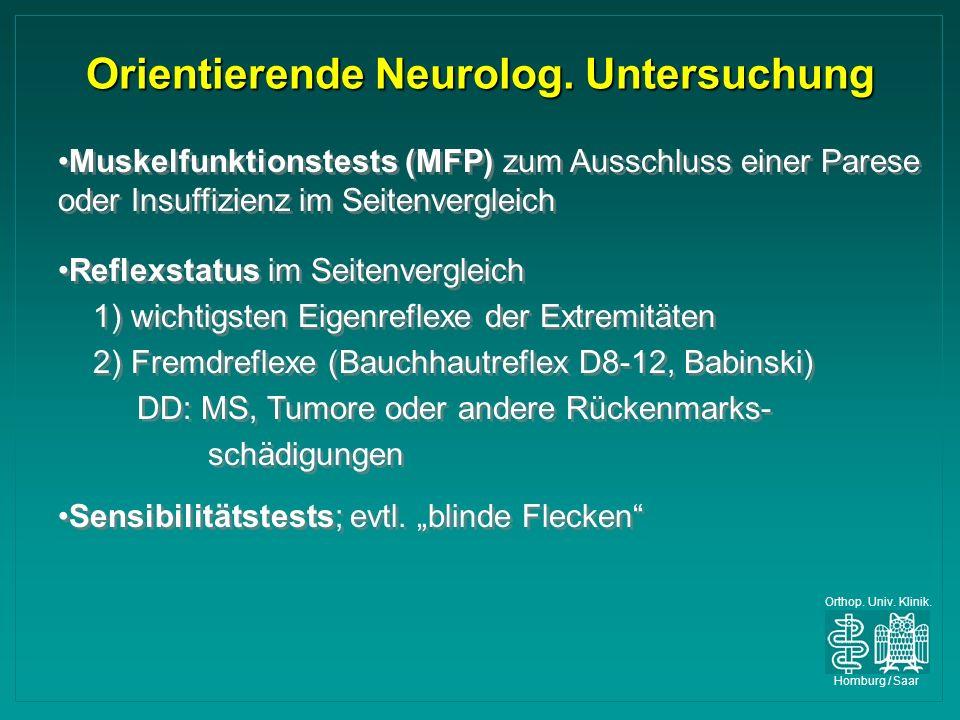 Orientierende Neurolog. Untersuchung
