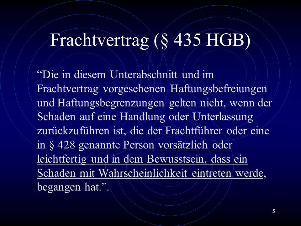 Frachtvertrag (§ 435 HGB)