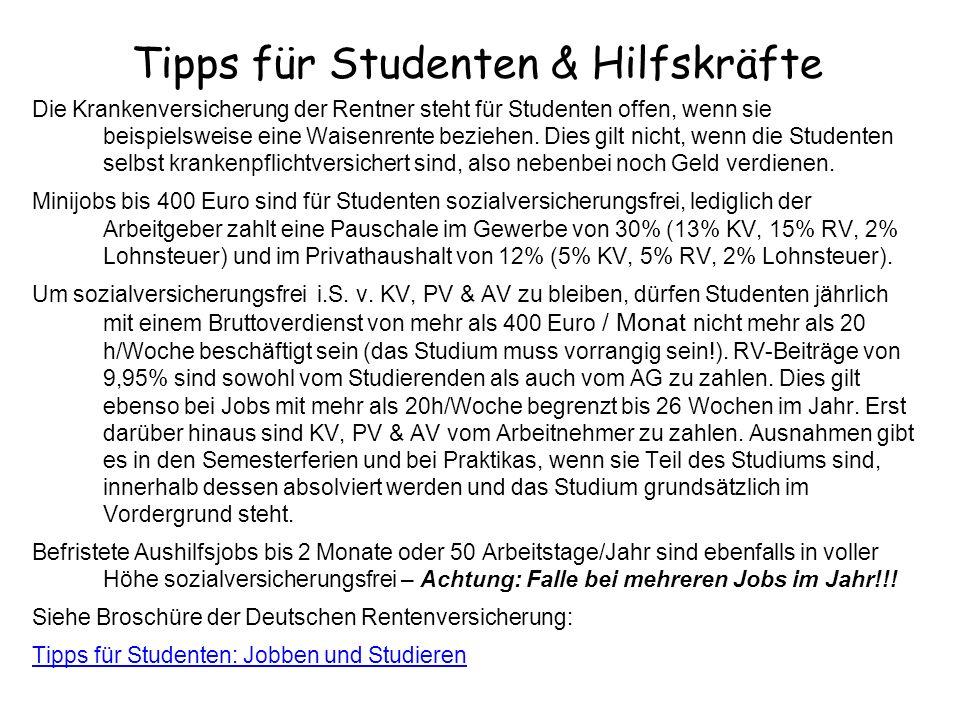 Tipps für Studenten & Hilfskräfte