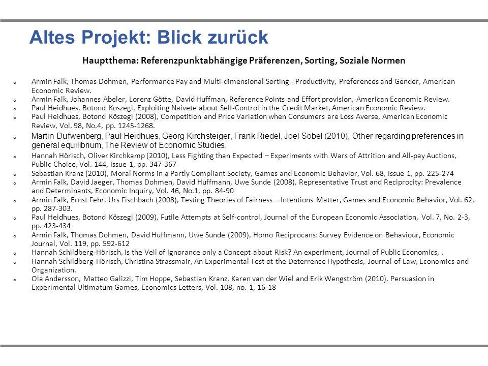 Altes Projekt: Blick zurück